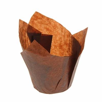 """Форма бумажная """"Тюльпан"""",коричневый 10 шт."""