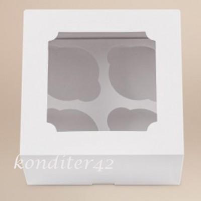 Коробка для 4 капкейков,16*16*10см.с окном