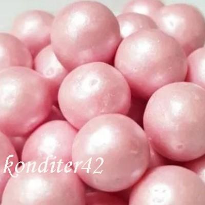 """Драже рисовое """"Жемчуг"""" ,розовый, в глазури 12-13 мм, 80 гр."""