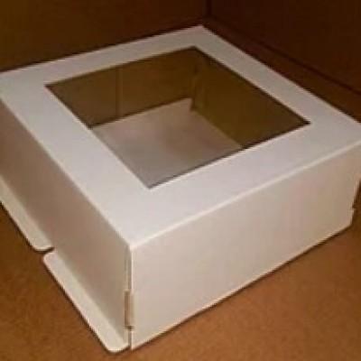 Коробка для торта 220х220х130 с окном.