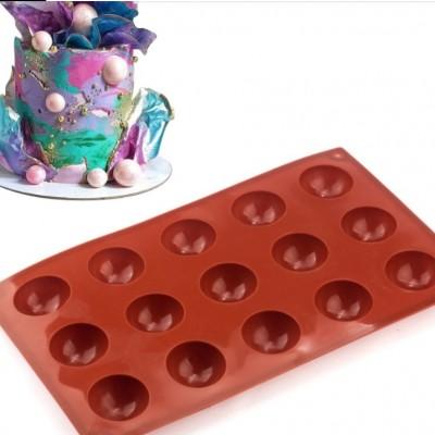 """Силиконовая форма """" Полусфера """" 15 полусфер для шоколада и изомальта."""