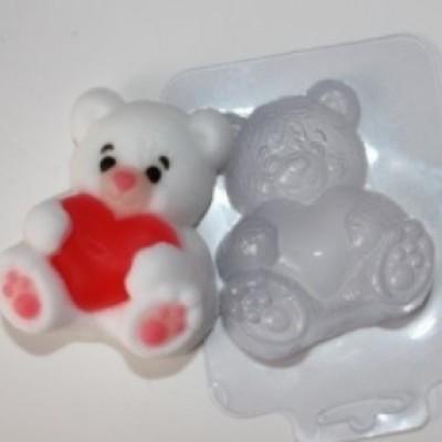 """Пластиковая форма """" Мишка с сердцем"""""""