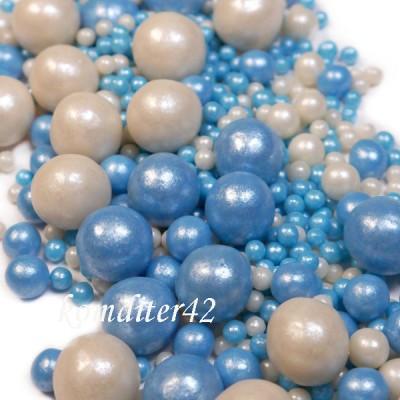 """Драже рисовое """" Жемчуг"""" бело-голубой, в глазури, микс, 80 гр."""