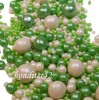 """Драже рисовое """" Жемчуг"""" бело-зеленый, в глазури, микс, 90 гр."""