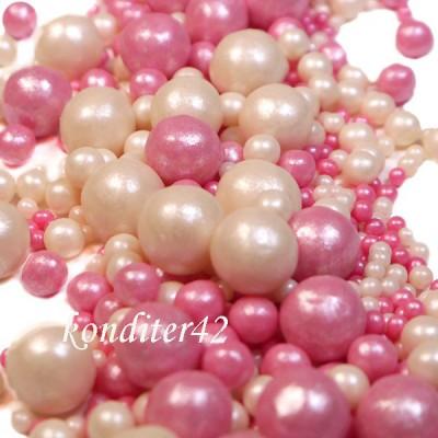 """Драже рисовое """"Жемчуг"""" бело-розовый, в глазури, микс. , 80 гр."""